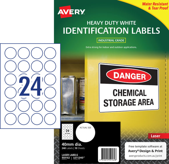 Avery White Heavy Duty Labels for Laser Printers, 40 mm diameter, 240 Labels (959162 / L6112HD)