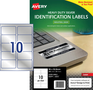 Avery Silver Heavy Duty Labels for Laser Printers, 96 x 50.8 mm, 200 Labels (959203 / L6012)