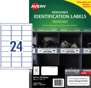 Avery Heavy Duty Removable Labels for Laser Printers, 63.5 x 33.9 mm, 480 Labels (959207 / L4773REV)