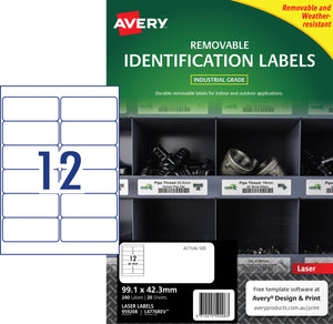 Avery Heavy Duty Removable Labels for Laser Printers, 99.1 x 42.3 mm, 240 Labels (959208 / L4776REV)