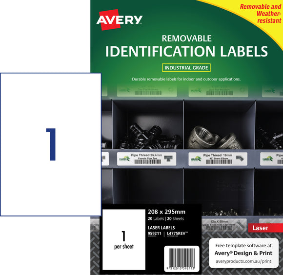 Avery Heavy Duty Removable Labels for Laser Printers, 208 x 295 mm, 20 Labels (959211 / L4775REV)