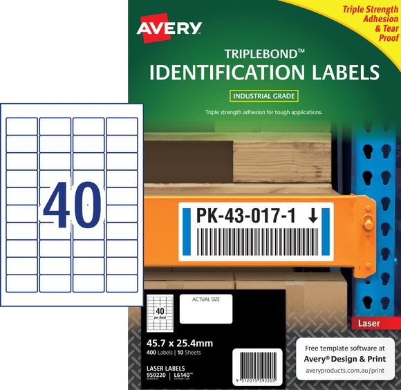 Avery TripleBond Labels for Laser Printers, 45.7 x 25.4 mm, 400 Labels (959220 / L6140)