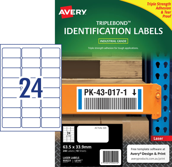 Avery TripleBond Labels for Laser Printers, 63.5 x 33.9 mm, 240 Labels (959221 / L6141)