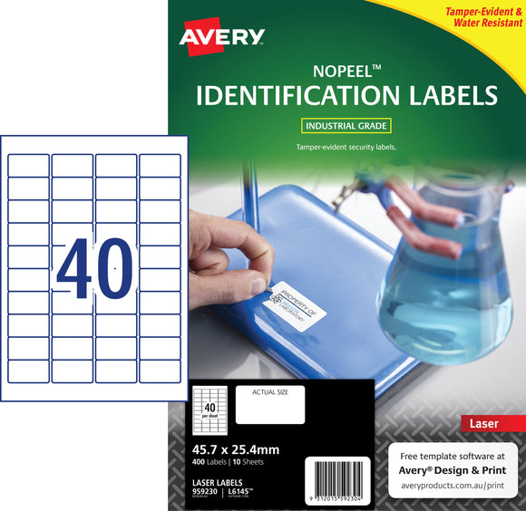 Avery NoPeel Labels for Laser Printers, 45.7 x 25.4 mm, 400 Labels (959230 / L6145)