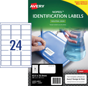 Avery NoPeel Labels for Laser Printers, 63.5 x 33.9 mm, 240 Labels (959231 / L6146)