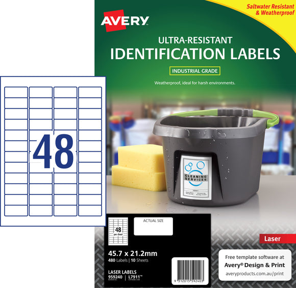 Avery Ultra-Resistant Outdoor Labels for Laser Printers, 45.7 x 21.2 mm, 480 Labels (959240 / L7911)