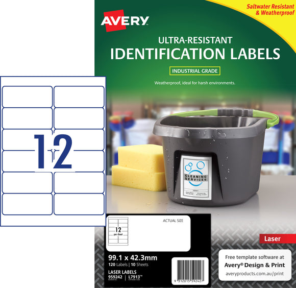 Avery Ultra-Resistant Outdoor Labels for Laser Printers, 99.1 x 42.3 mm, 120 Labels (959242 / L7913)