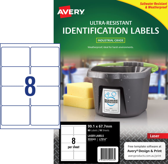 Avery Ultra-Resistant Outdoor Labels for Laser Printers, 99.1 x 67.7 mm, 80 Labels (959243 / L7914)