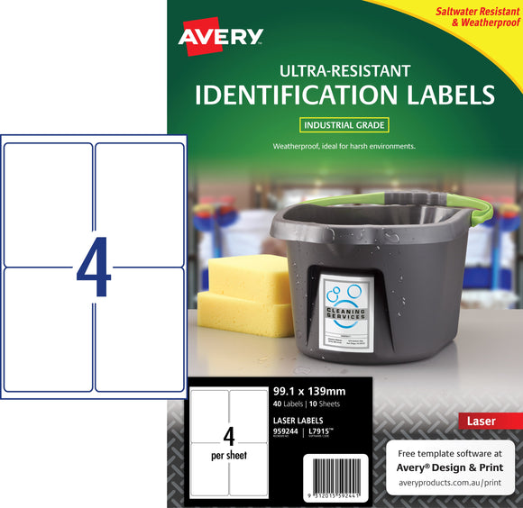 Avery Ultra-Resistant Outdoor Labels for Laser Printers, 99.1 x 139 mm, 40 Labels (959244 / L7915)