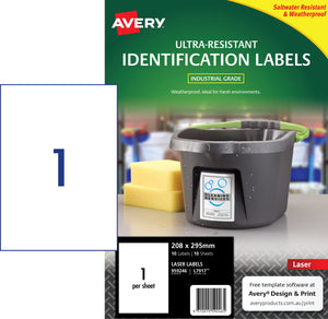 Avery Ultra-Resistant Outdoor Labels for Laser Printers, 208 x 295 mm, 10 Labels (959246 / L7917)