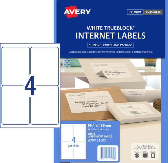 Avery Internet Shipping Labels for Inkjet Printers, 99.1 x 139 mm, 40 Labels (959402 / L7169)