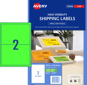 Avery Fluoro Green High Visibility Shipping Labels for Laser Printers, 199.6 x 143.5 mm, 20 Labels (959408 / L7168FG)