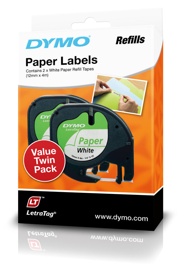 Dymo LetraTag Paper 12mm x 4m Label Tape 2 Pack (SD92630)