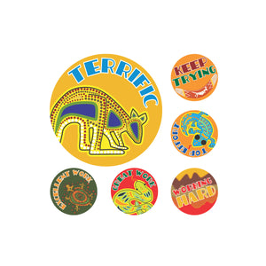 Avery Merit Stickers Aussie Art 30 mm diameter Multi-coloured 96 Pack (69605)