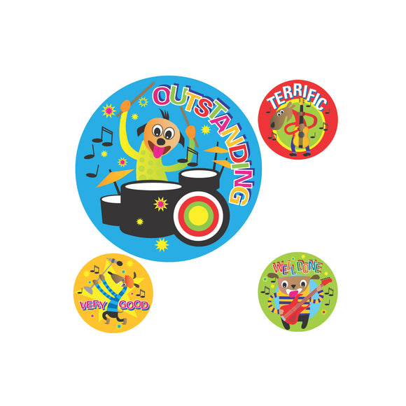 Avery Merit Stickers Cartoon Band 30 mm diameter Multi-coloured 102 Pack (69621)