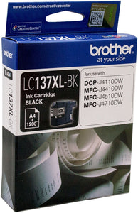 Brother LC XL Ink Cartridge, Black, up to 1200 pages (LC-137XLBK)