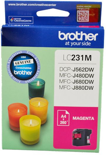 Brother LC Ink Cartridge, Magenta, Up to 260 pages (LC-231MS)