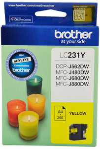 Brother LC Ink Cartridge, Yellow, Up to 260 pages (LC-231YS)