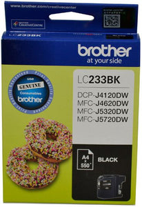 Brother LC Ink Cartridge, Black, Up to 550 pages (LC-233BKS)