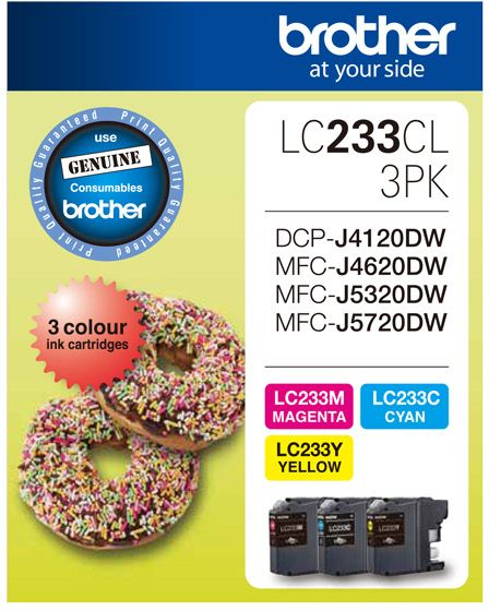 Brother LC Ink Cartridge, 3-Colour Pack, Up to 550 pages each (LC-233CL3PKS)