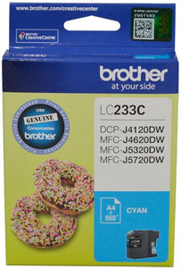 Brother LC Ink Cartridge, Cyan, Up to 550 pages (LC-233CS)
