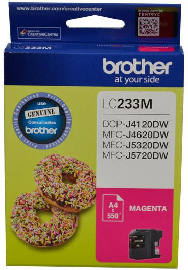 Brother LC Ink Cartridge, Magenta, Up to 550 pages (LC-233MS)
