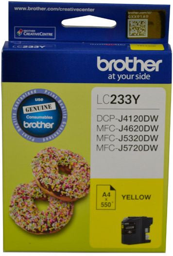 Brother LC Ink Cartridge, Yellow, Up to 550 pages (LC-233YS)
