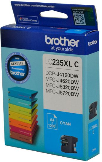 Brother LC XL Ink Cartridge, Cyan, Up to 1,200 pages (LC-235XLCS)