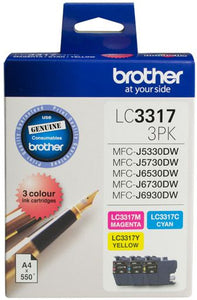 Brother LC Ink Cartridge, 3-Colour Pack, Up to 550 pages each (LC-33173PK)