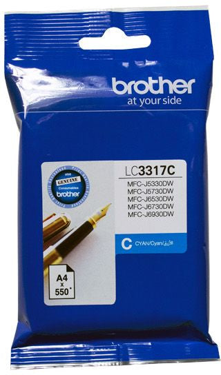Brother LC Ink Cartridge, Cyan, up to 550 pages (LC-3317C)