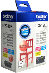 Brother LC Ink Cartridge, Extra-Large 3-Colour Pack, up to 1500 pages each (LC-3319XL3PK)