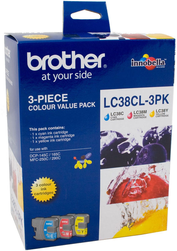 Brother LC Ink Cartridge, 3-Colour Pack, 260 pages each (LC-38CL3PK)