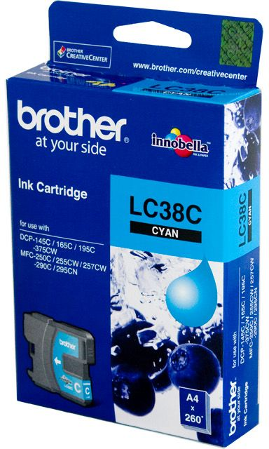 Brother LC Ink Cartridge, Cyan, 260 pages (LC-38C)