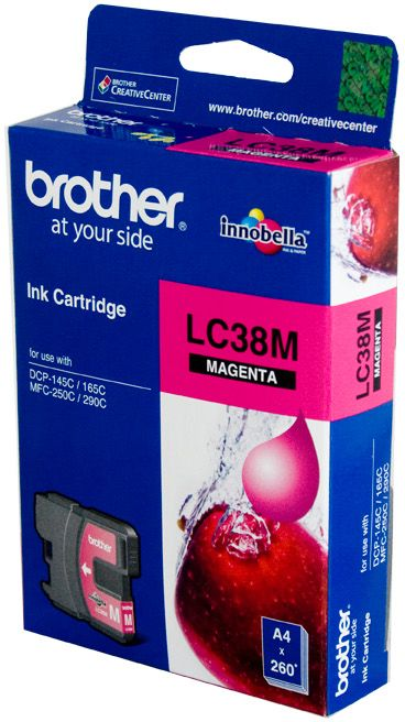Brother LC Ink Cartridge, Magenta, 260 pages (LC-38M)
