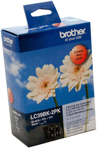Brother LC Ink Cartridge, Twin Black, 300 pages x 2 (LC-39BK2PK)
