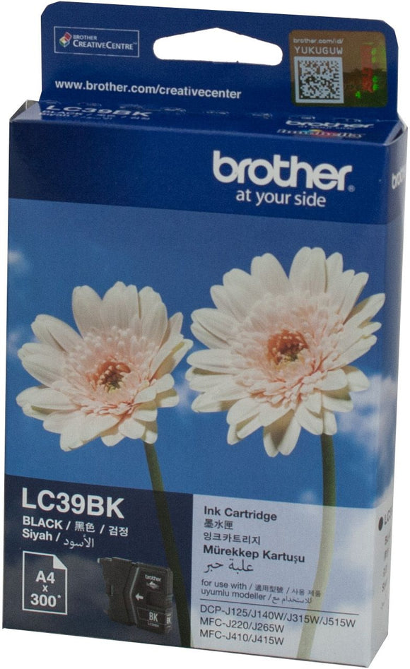 Brother LC Ink Cartridge, Black, 300 pages (LC-39BK)