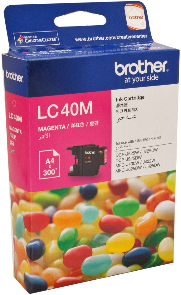 Brother LC Ink Cartridge, Magenta, up to 300 pages (LC-40M)