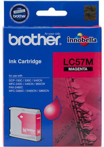 Brother LC Ink Cartridge, Magenta, 400 pages (LC-57M)