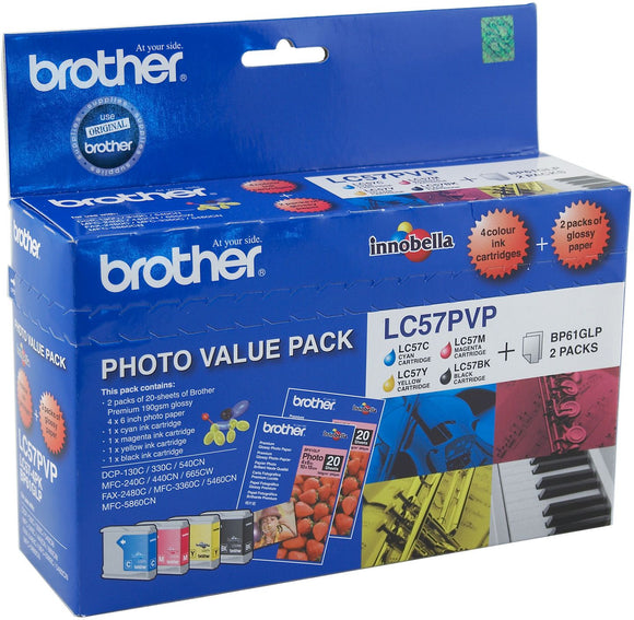Brother LC Ink Cartridge, Photo Value Pack, Bk 500 page CMY 400 pages each (LC-57PVP)