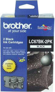 Brother LC Ink Cartridge, Twin Black, 450 pages each (LC-67BK2PK)