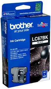 Brother LC Ink Cartridge, Black, 450 pages (LC-67BK)