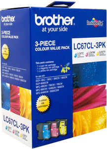 Brother LC Ink Cartridge, 3-Colour Pack, 325 pages each (LC-67CL3PK)