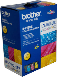 Brother LC XL Ink Cartridge, Twin High-Yield 3-Colour, 750 pages each (LC-67HYCL3PK)