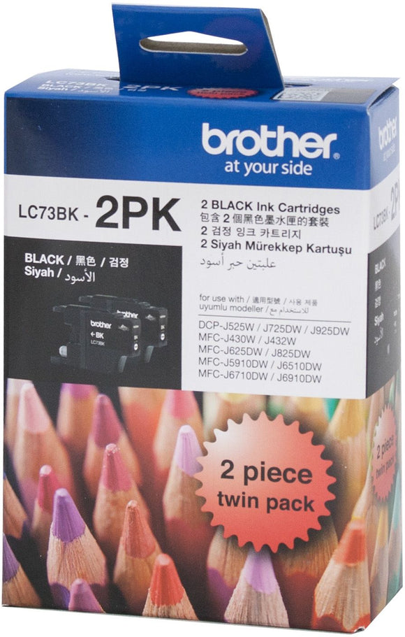 Brother LC Ink Cartridge, Twin Black, Up to 600 pages each (LC-73BK2PK)