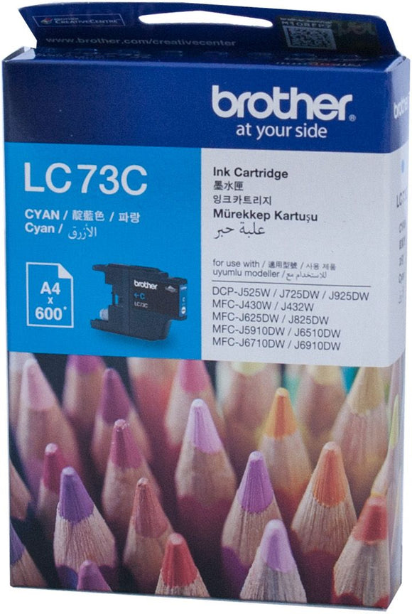 Brother LC Ink Cartridge, Cyan, Up to 600 pages (LC-73C)