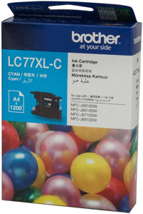 Brother LC XL Ink Cartridge, Cyan, Up to 1,200 pages (LC-77XLC)