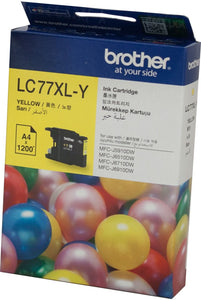 Brother LC XL Ink Cartridge, Yellow, Up to 1,200 pages (LC-77XLY)
