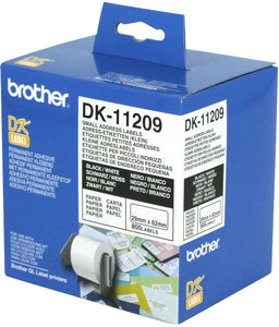 Brother DK Roll 29mm x 62 mm, Black on White, 800 Labels (DK-11209)