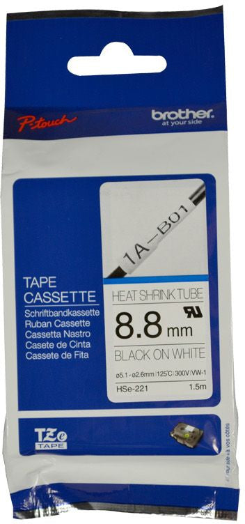 Brother HSE Heat Shrink Tube Labelling Tape 8.8mm Width, Black on White, 1.5m Long (HSE-221)