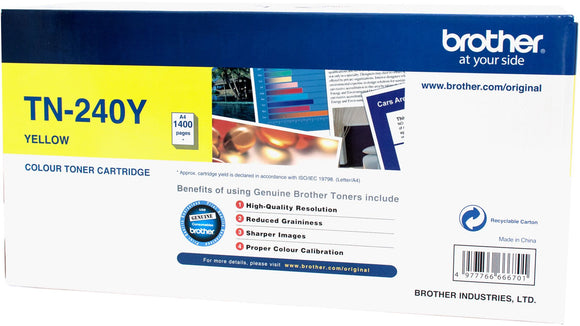Brother TN Toner Cartridge, Yellow, 1,400 pages (TN-240Y)
